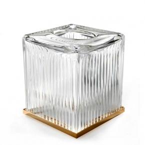 . Elegance Gold хрустальная салфетница настольная Золото куб