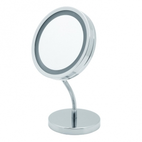 Зеркала косметические с подсветкой увеличением настенные настольные Зеркала с присосками.   LANA Nicol косметическое зеркало с подсветкой LED от батареек и пятикратным увеличением настольное с гибким шарниром
