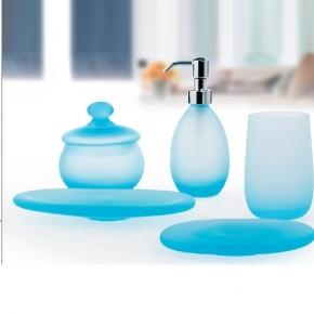 Аксессуары для ванной настольные. Аксессуары для ванной настольные Soffio голубые стеклянные