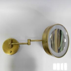 .  Зеркало косметическое бронзовое с увеличением 1х2 и подсветкой настенное LED
