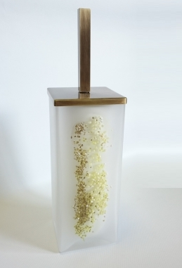 Ёршики для унитаза напольные и настенные. Ёршик для унитаза напольный стеклянный белый матовый квадратный с декором MARMORES бронзовый