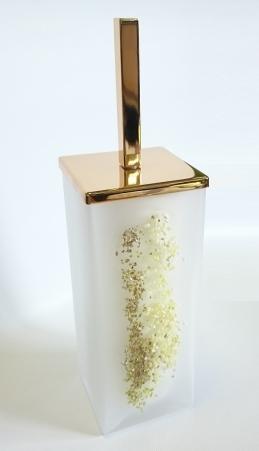 Ёршики для унитаза напольные и настенные. Ёршик для унитаза напольный стеклянный белый матовый квадратный с декором MARMORES золотой