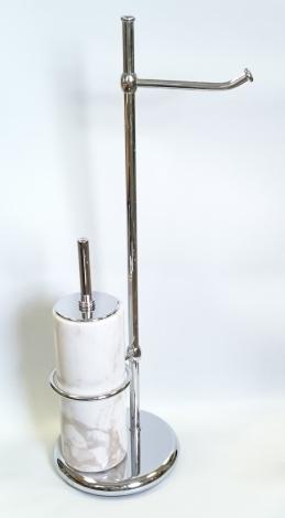 Стойки напольные с ёршиком бумагодержателем, полотенцедержателем и высокие. Стойка напольная с бумагодержателем и мраморным ёршиком Natura Marmores S