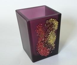 . Аксессуары для ванной Kalahari Violet Marmores стеклянные фиолетовые с декором настольные Стакан