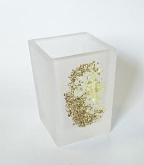 . Аксессуары для ванной Kalahari WHITE Marmores стеклянные стакан с декором