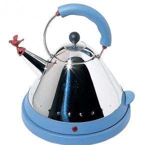 Электрические чайники и кофемашины. Чайник электрический со свистком светло-голубой