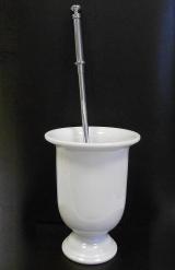 .  Аксессуары для ванной Liberty напольный ёршик для унитаза длинный Белый фаянс ХРОМ