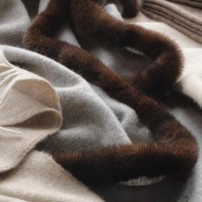 Пледы Покрывала Deluxe. EAGLE PRODUCTS плед кашемировый с отделкой Норка мех Bellagio