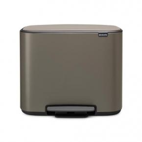 Мусорные баки и вёдра для кухни. Brabantia Bo мусорный бак с педалью Платина 11+23 литра