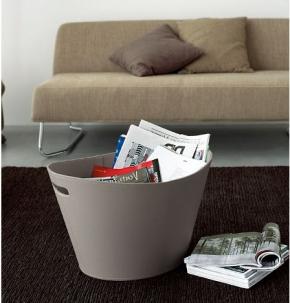 . Ёмкость для хранения кожаная газетница напольная с ручками Calligaris Basket серая овальная
