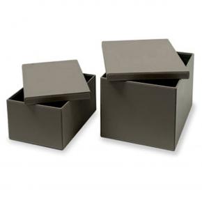 . Короб с крышкой серый прямоугольный Calligaris Clever кожаный