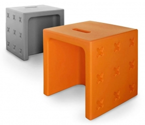 Банкетки для ванной Пуфы Интерьерные Табуреты для ванной и душа Откидные сиденья. Табурет универсальный пластиковый цветной Calligaris Crossover Оранжевый Серый