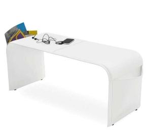 Аксессуары и Мебель для дома. Банкетка кожаная Calligaris SHAPE белая с карманами