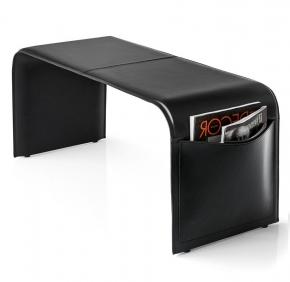 Аксессуары и Мебель для дома. Банкетка кожаная Calligaris SHAPE чёрная с карманами
