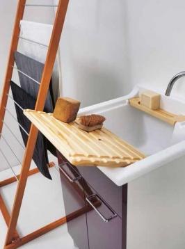 Итальянские постирочные раковины Мебель и оборудование для постирочной комнаты.  Постирочная раковина 50 см Melanzana Colavene Jolly Wash мебель итальянская с корзиной для белья