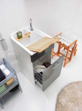 Итальянские постирочные раковины Мебель и оборудование для постирочной комнаты.  Постирочная раковина 45 см Antracite Colavene Jolly Wash с корзиной для белья