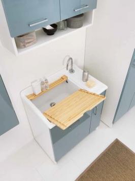 Итальянские постирочные раковины Мебель и оборудование для постирочной комнаты.  Постирочная раковина большая 75 см Colavene Lindo Celeste итальянская с корзиной для белья
