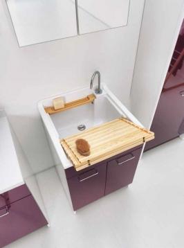 Итальянские постирочные раковины Мебель и оборудование для постирочной комнаты.  Постирочная раковина 60 см Melanzana Colavene Swash итальянская мебель с тумбой