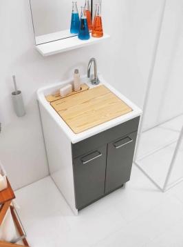 Итальянские постирочные раковины Мебель и оборудование для постирочной комнаты.  Постирочная раковина 45 см Antracite Colavene Swash мебель итальянская с тумбой