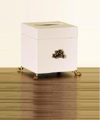 Аксессуары для кабинета Deluxe. Салфетница деревянная Avorio куб с декором бронза