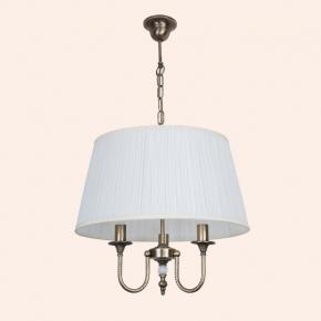 Светильники для ванной комнаты. Люстра с текстильным абажуром TW Murano TWMUL1578/CH3br ∅ 500мм