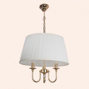 Светильники для ванной комнаты. Люстра с текстильным абажуром TW Murano TWMUL1578/CH3oro ∅ 500мм