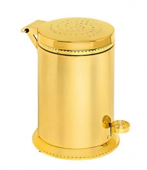 Аксессуары для ванной с кристаллами Swarovski. Золотое ведро с педалью декор кристаллы Swarovski Tapa L