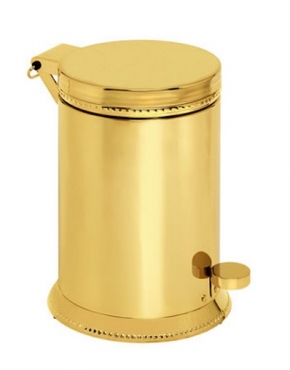 Аксессуары для ванной с кристаллами Swarovski. Золотое ведро с педалью декор кристаллы Swarovski Tapa