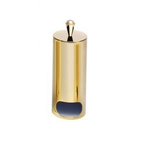 Аксессуары для ванной с кристаллами Swarovski. Контейнер для ватных дисков настольный с крышкой золотой