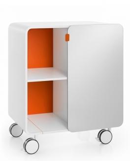 Этажерки для ванной. Этажерка для ванной на роликах с зеркальной дверкой белая Оранжевая