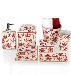 . Decor Walther Аксессуары для ванной настольные Flora фарфоровые белые с декором