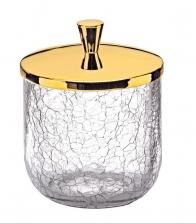 . Аксессуары для ванной настольные кракелюрное стекло золотая косметическая ёмкость с крышкой