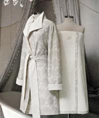 Халаты Одежда для бани и сауны Deluxe. Халат Macrame со стразами Swarovski (S, L) Бежевый от Blumarine Art.78739-78740-78741