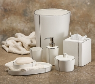 . Настольные аксессуары для ванной керамические с платиной Lino Platinum Labrazel