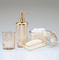 . Настольные аксессуары для ванной стеклянные с золотом Flora Gold Labrazel