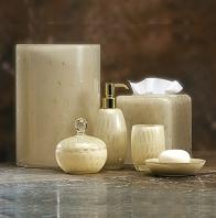 . Настольные аксессуары для ванной стеклянные с золотом Contessa Labrazel