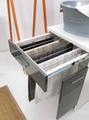 Итальянские постирочные раковины Мебель и оборудование для постирочной комнаты. Мебель для постирочной Сушилка для белья Colavene встроенная в тумбу раздвижная Antracite