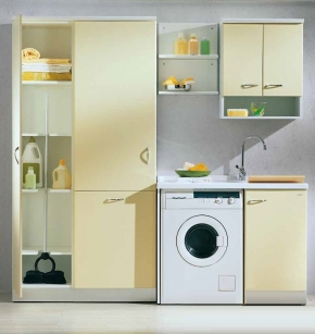 . Lavatto мебель постирочная раковина гарнитур желтый с высокими шкафами