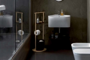 Мебель и Аксессуары для ванной из натурального дерева, Раттана и Бамбука.  Постирочная стойка универсальная деревянная SERVETTO Tino Colavene мебель