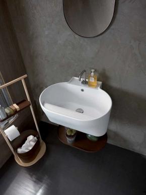 Итальянские постирочные раковины Мебель и оборудование для постирочной комнаты.  Постирочная раковина керамическая настенная белая Cor-Ten style Tino Colavene итальянская