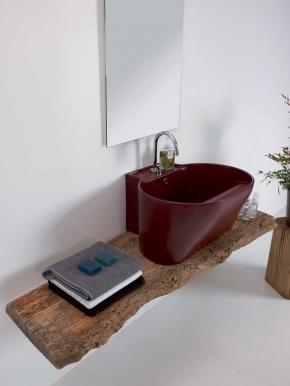 .  Постирочная раковина керамическая красная Vinaccia Tino Colavene мебель итальянская