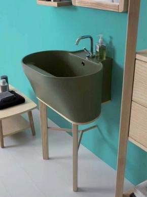 Итальянские постирочные раковины Мебель и оборудование для постирочной комнаты.  Постирочная раковина керамическая зелёная Verde Bamboo Tino Colavene мебель итальянская