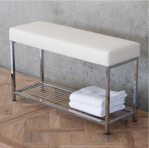 Банкетки для ванной Пуфы Интерьерные Табуреты для ванной и душа Откидные сиденья. Decor Walther Банкетка для ванной с полкой Banc кожаная белая большая