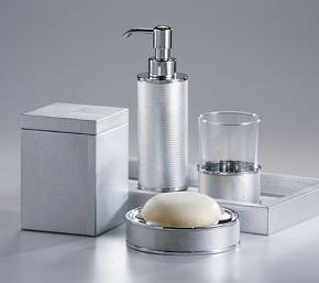 . Настольные аксессуары для ванной серебро с кожаным декором Metallic Snake Silver Labrazel