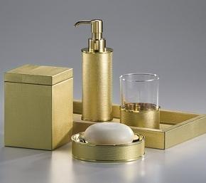 . Настольные аксессуары для ванной золотые с кожаным декором Metallic Snake Gold Labrazel