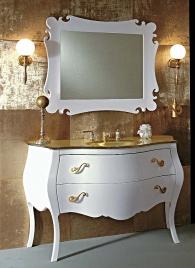 Мебель для ванной комнаты. Eurolegno Narciso Композиция №12 Комплект мебели 132 см, цвет: глянцевый белый