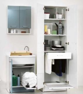 Итальянские постирочные раковины Мебель и оборудование для постирочной комнаты. Мебель для постирочной высокий шкаф колонка с выдвижной сушилкой для белья Bianca