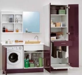 Итальянские постирочные раковины Мебель и оборудование для постирочной комнаты. Мебель для постирочной высокий шкаф колонка с выдвижной сушилкой для белья Melanzana