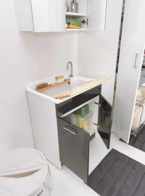 Итальянские постирочные раковины Мебель и оборудование для постирочной комнаты. Мебель для постирочной Глубокая раковина для стирки большая Colavene LM Antracite 75 см