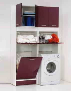 Итальянские постирочные раковины Мебель и оборудование для постирочной комнаты. Мебель для постирочной высокий шкаф колонка с корзиной для белья Melanzana